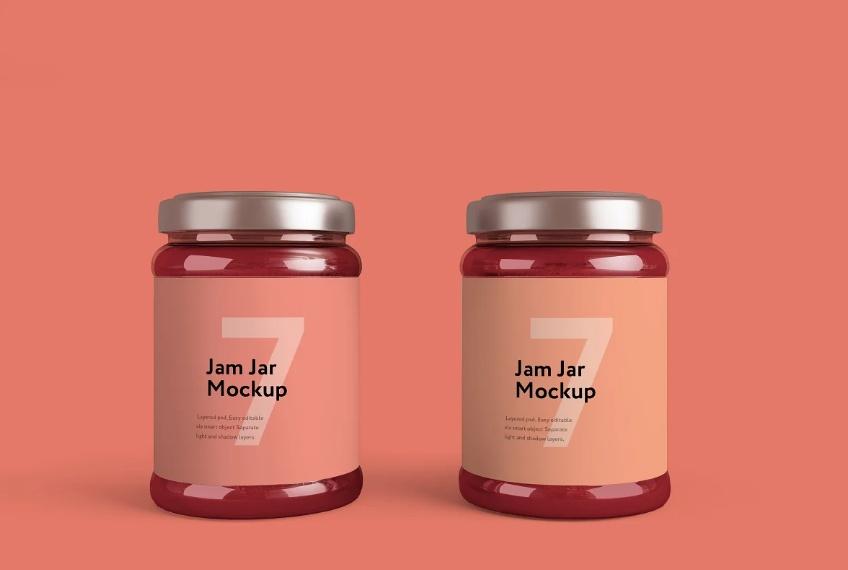 Jam Jar Packaging Mockup PSD