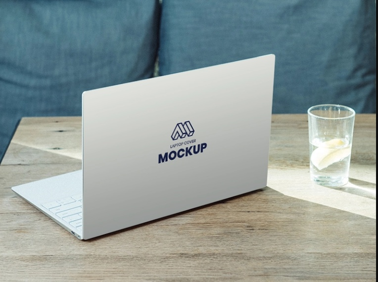 Laptop Back Cover Mockup PSD