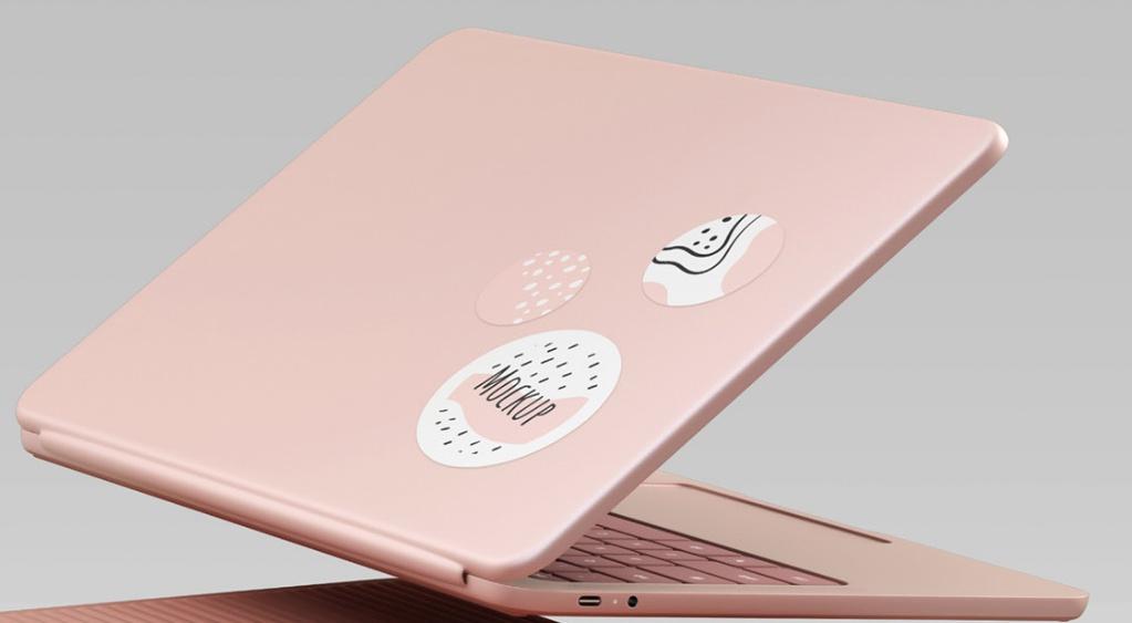 Laptop Sticker Mockup PSD