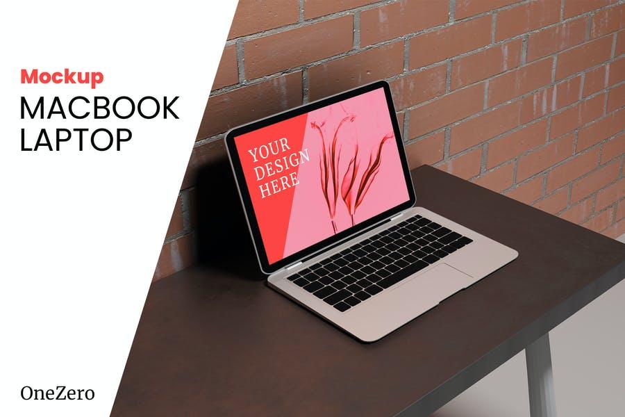 Laptop on Desk Mockup PSD