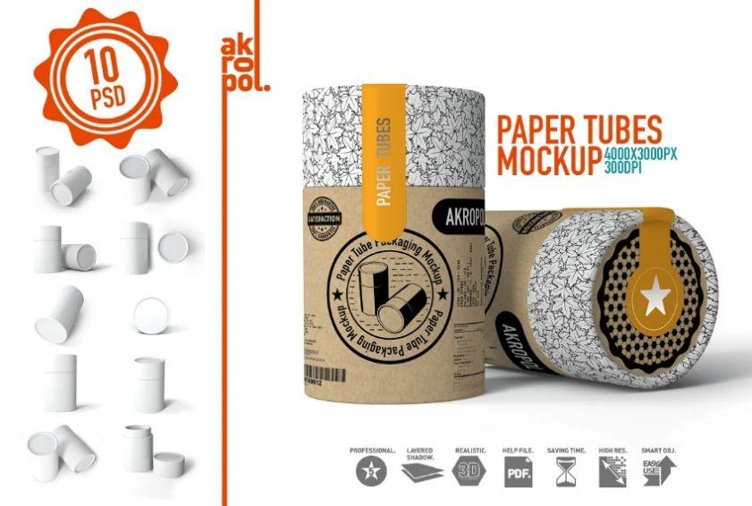 Large paper Tube Mockups