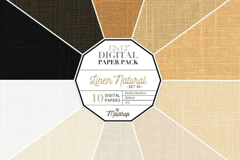Linen Digital Papers Packa