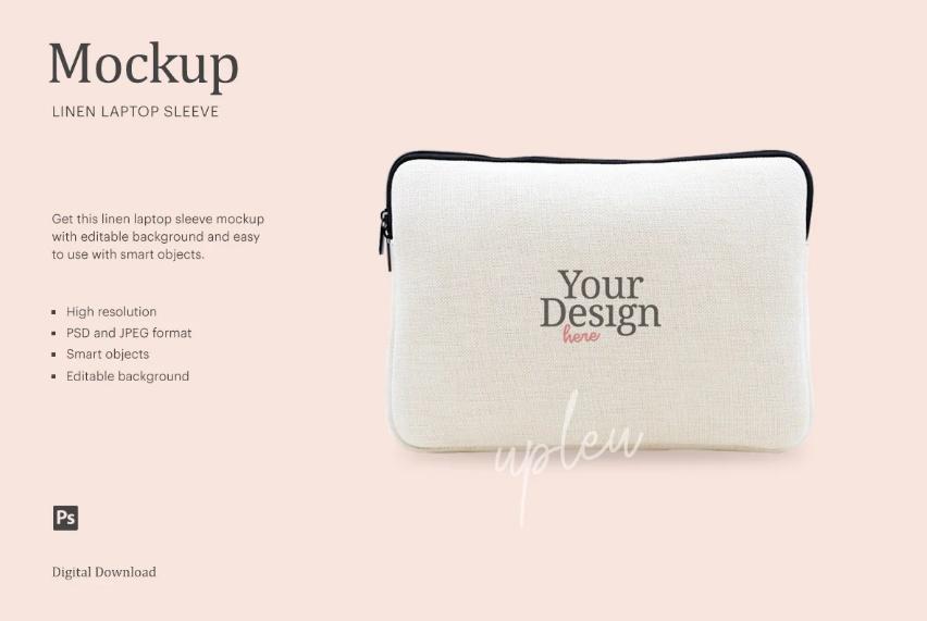 Linen Laptop Sleeve PSD Mockup
