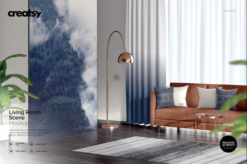 Living Room SceneMockup PSD