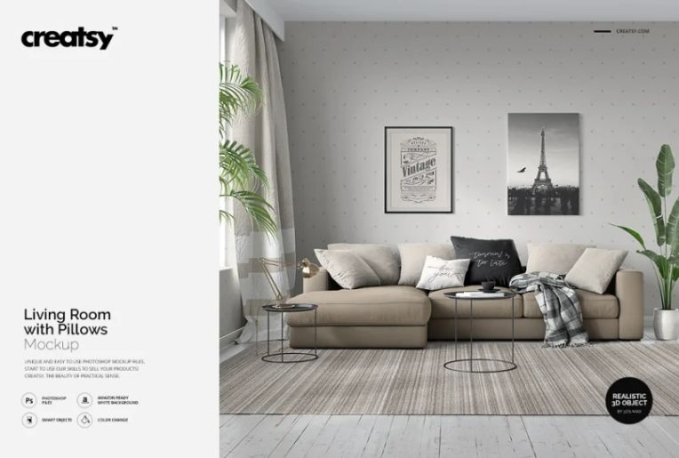 Living Room with Pillow Mockup