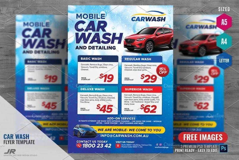 Mobile Car Wash Flyer Templates