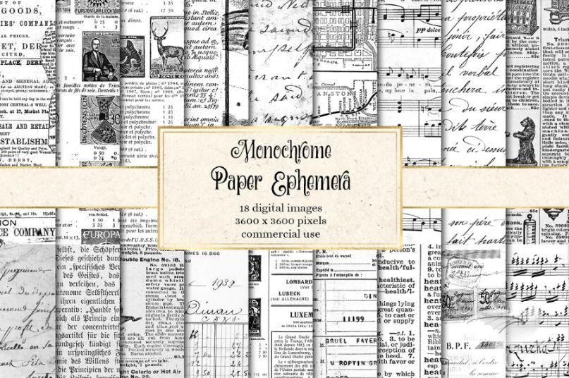 Monochrome Digital Paper Textures