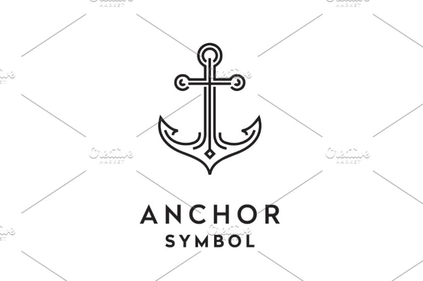 Monoline Anchor Logo Template