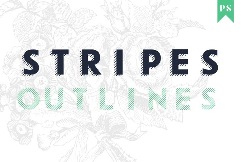 Outlines and Stripes Fonts Bundle