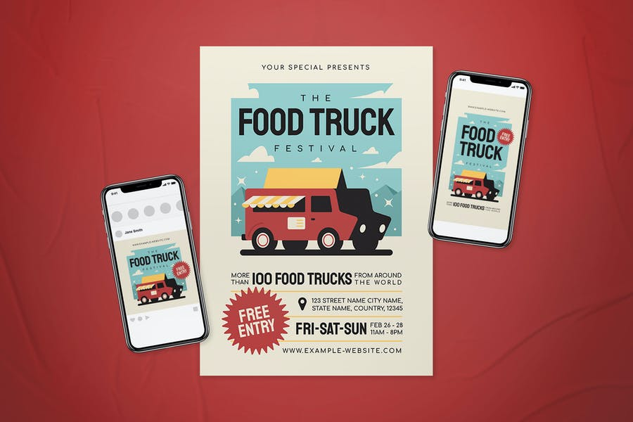 PSD and Ai Food Truck Flyer Set