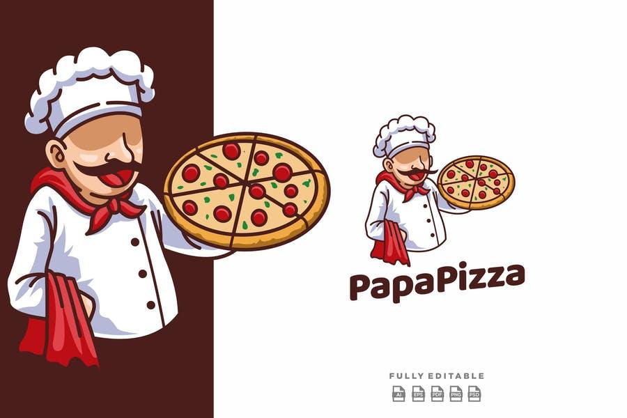 Papapizza Mascot Logo Template