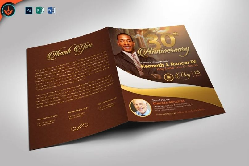 Pastor's Anniversary Brochure Template