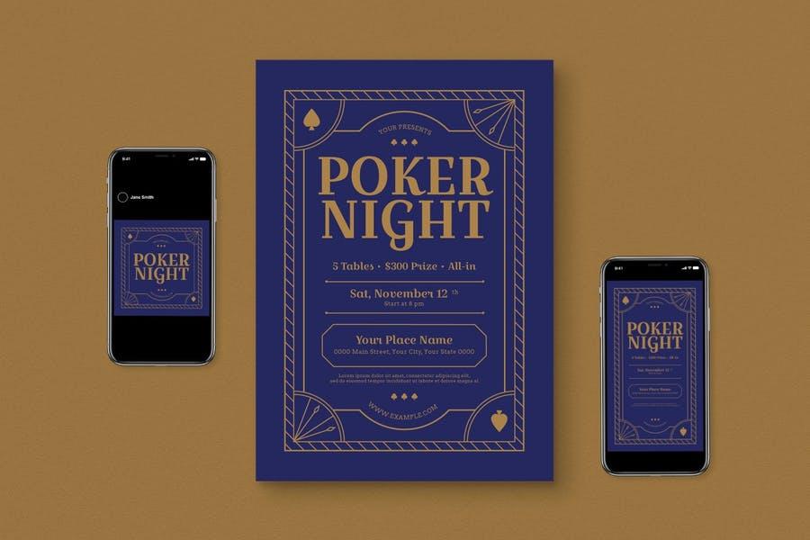 Poker Night Flyer Set