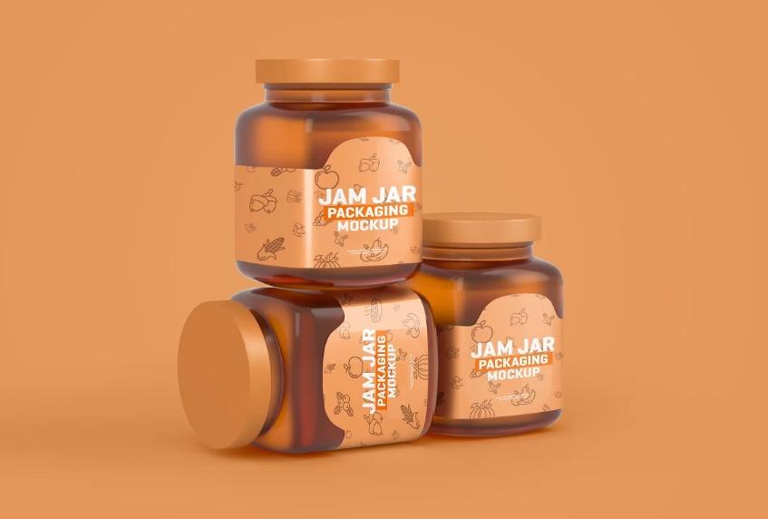 Realistic Jam jar Branding Mockups
