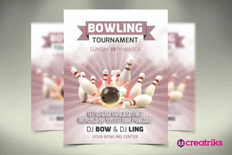 Retr Bowling Party Flyers