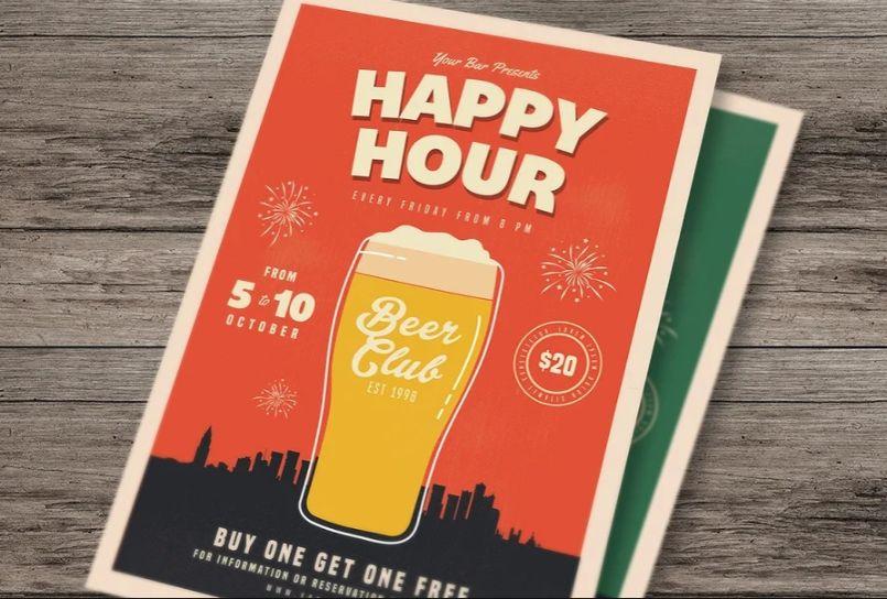 Retro Beer Happy Hour Flyer Template