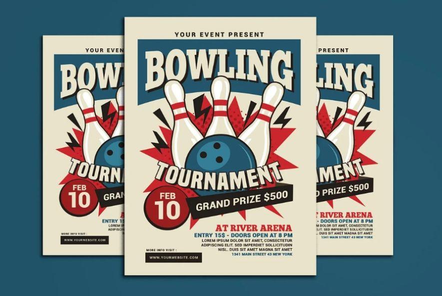 Retro Bowling Tournament Flyer