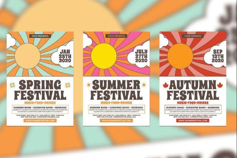 Retro Music Festival Flyers