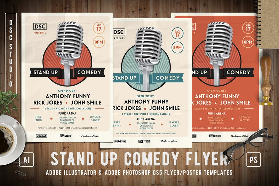Retro Stand Up Event Flyer