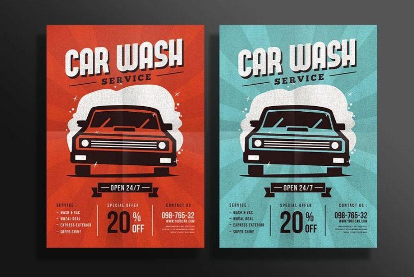 Retro Style Car Wash Flyers