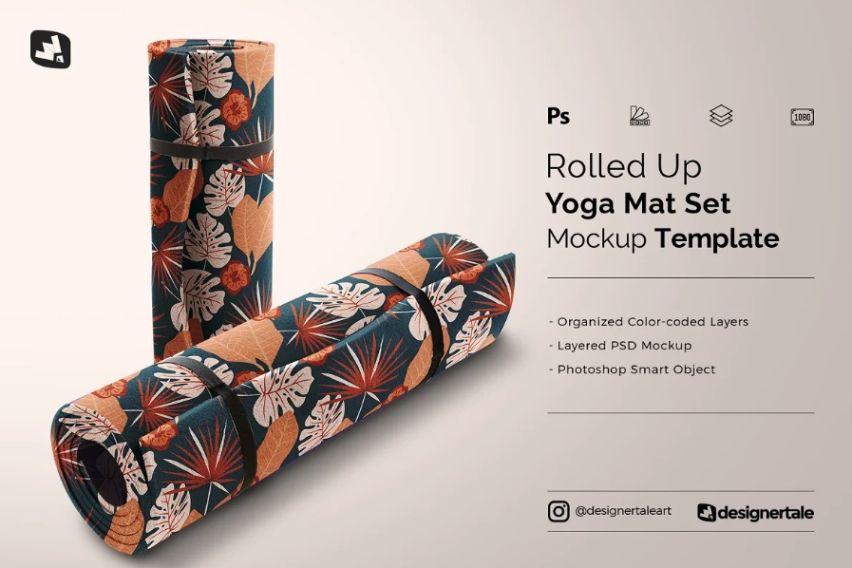 Rolled Up Yoga Mat Mockups PSD