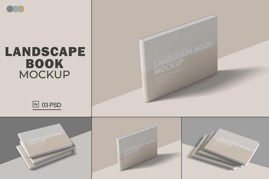 Softcover Landscape Book Mockups