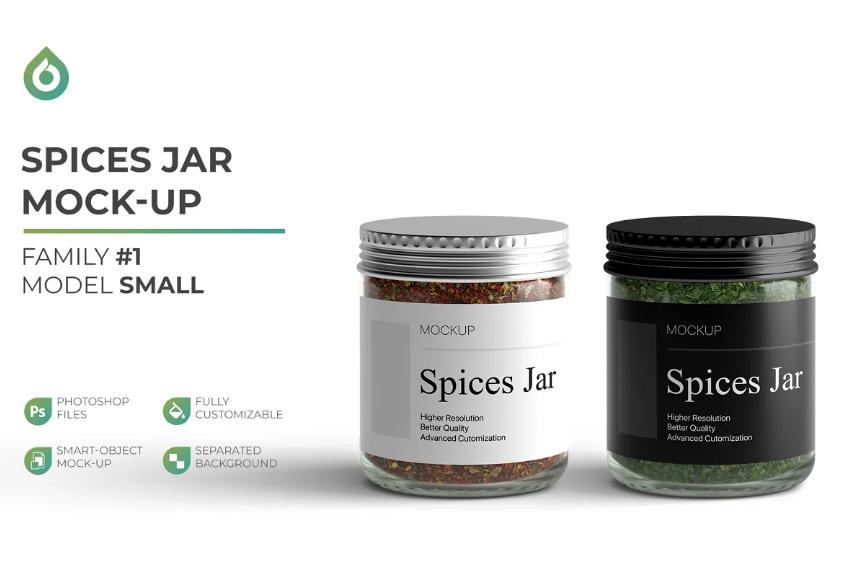 Spices Jar Branding Mockup PSD