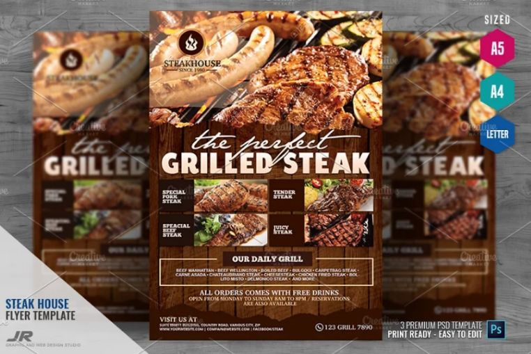 Steakhouse Restaurant Flyer Template