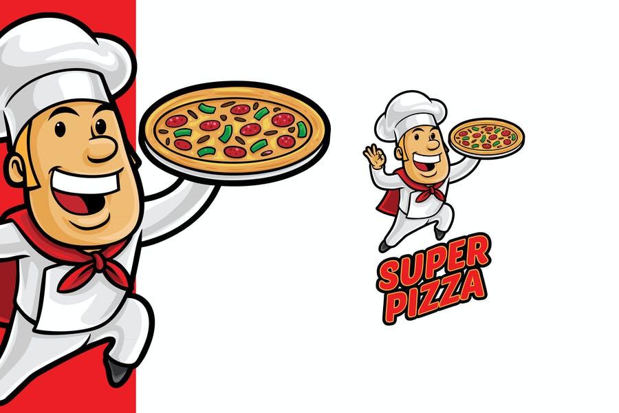 Super Pizza Mascot Logo
