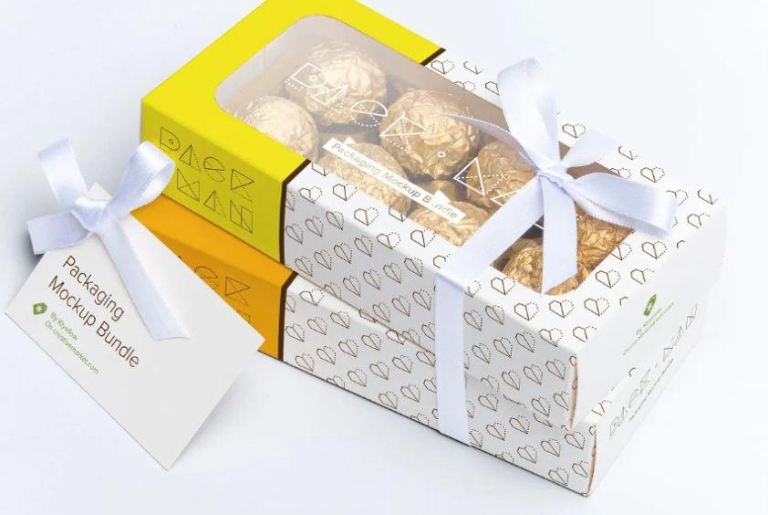 Sweet Box Packaging Mockup PSD