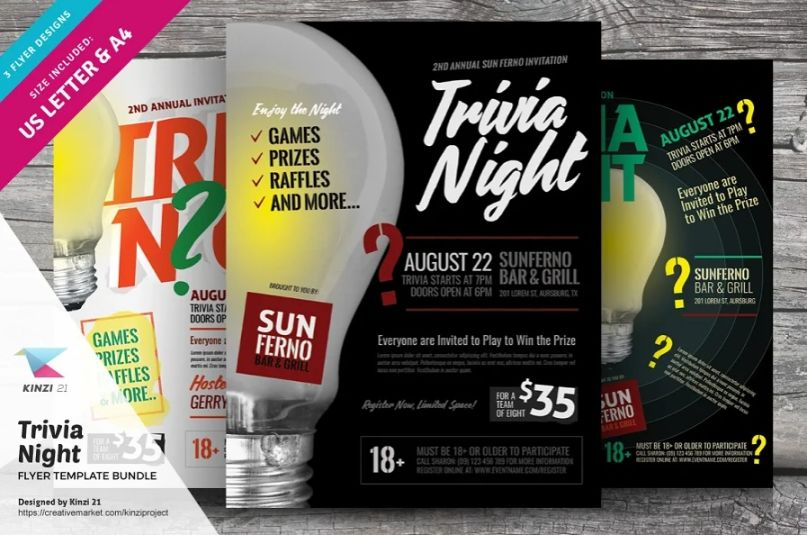 Trivia Night Flyer Template Bundle