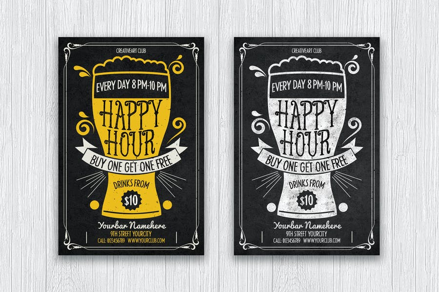 Two Happy Hour Flyers