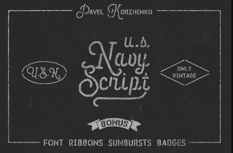 US Navy Script Typeface
