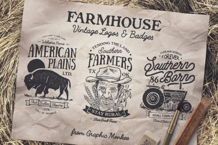 Vintage Farmhouse Logo Templates