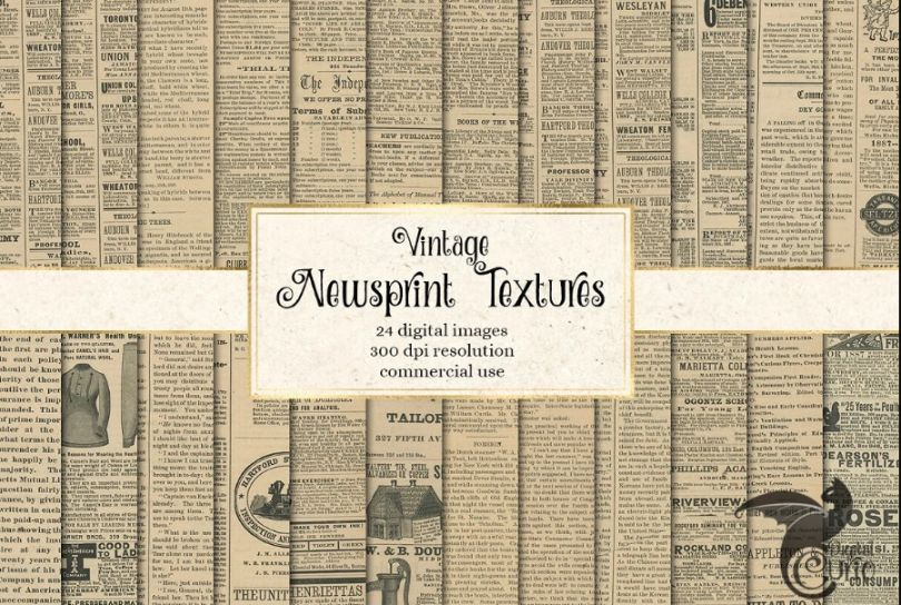 15+ Free Newsprint Texture PNG and JPG Download