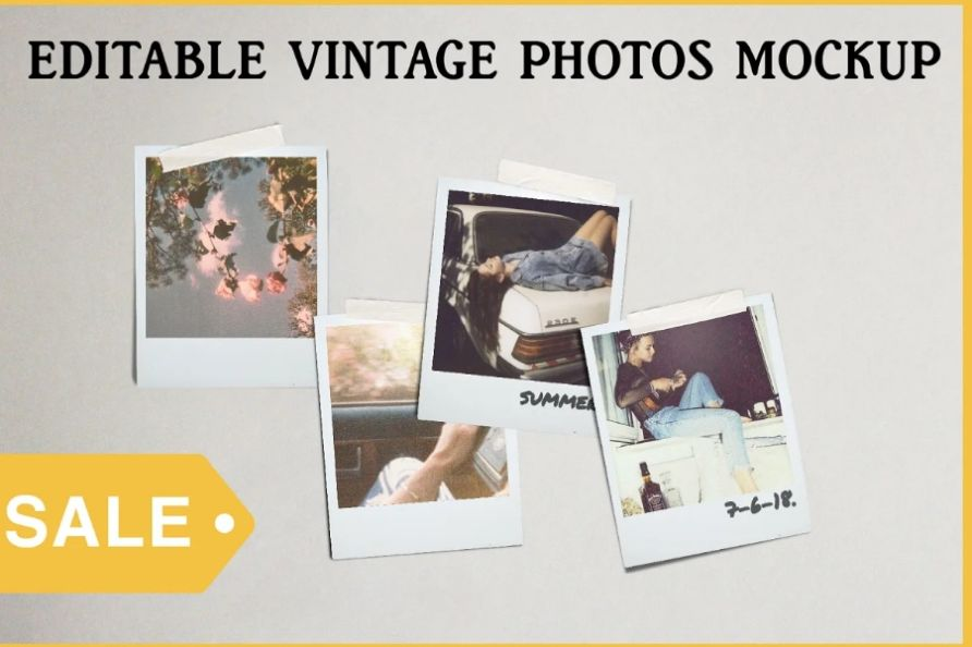Vintage Photos Mockup PSD