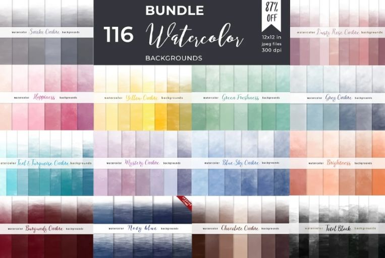 116 Watercolor Backgrounds Bundle