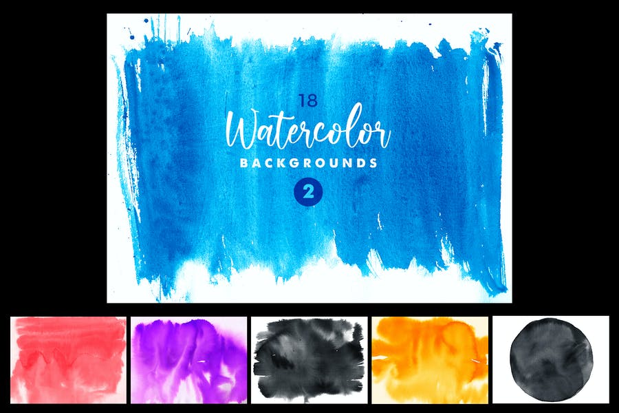 18 Handmade Water Colour Backgrounds
