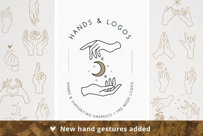 20 Hand Gesture Logos Bundle