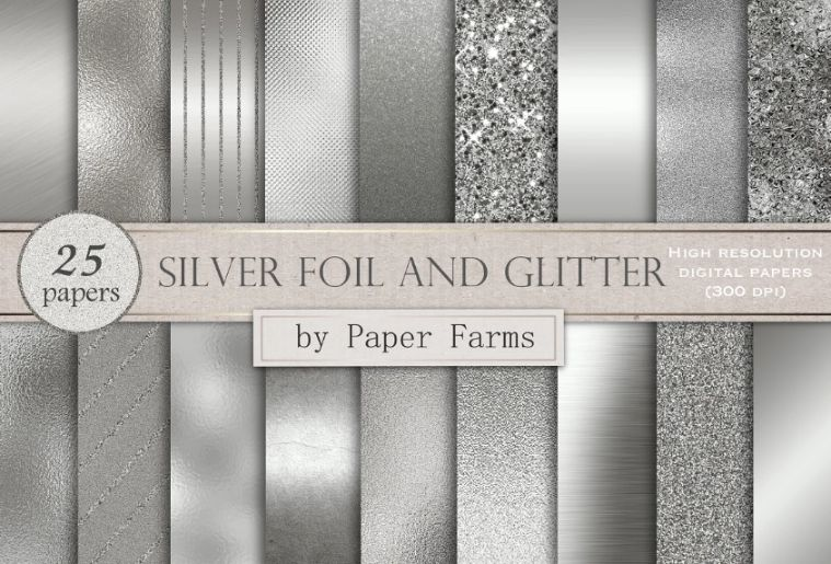 25 Silver Foil and Glitter Backgrounds