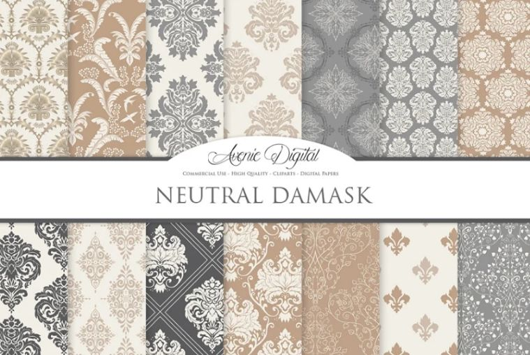 28 Neutral Damask Backgrounds