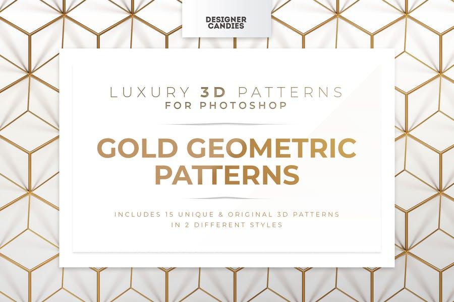 3D Gold Geometric Backgrounds