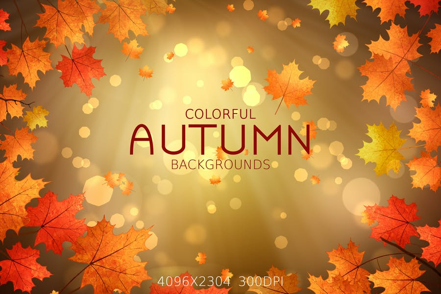 4 Colorful Autumn Leaves Background