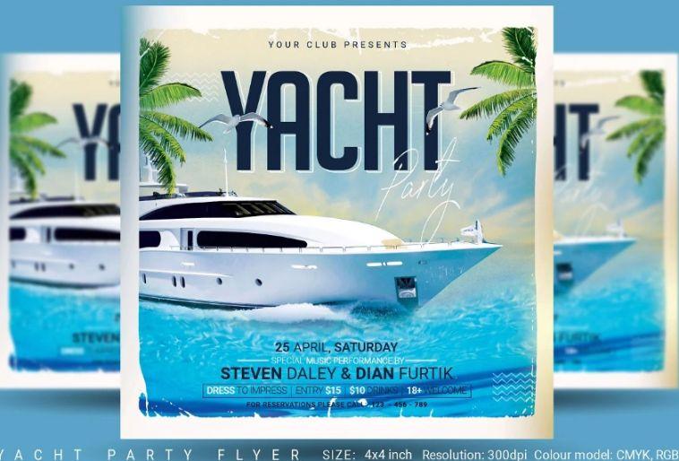 4 x 4 Yatch Party Invitation Flyer
