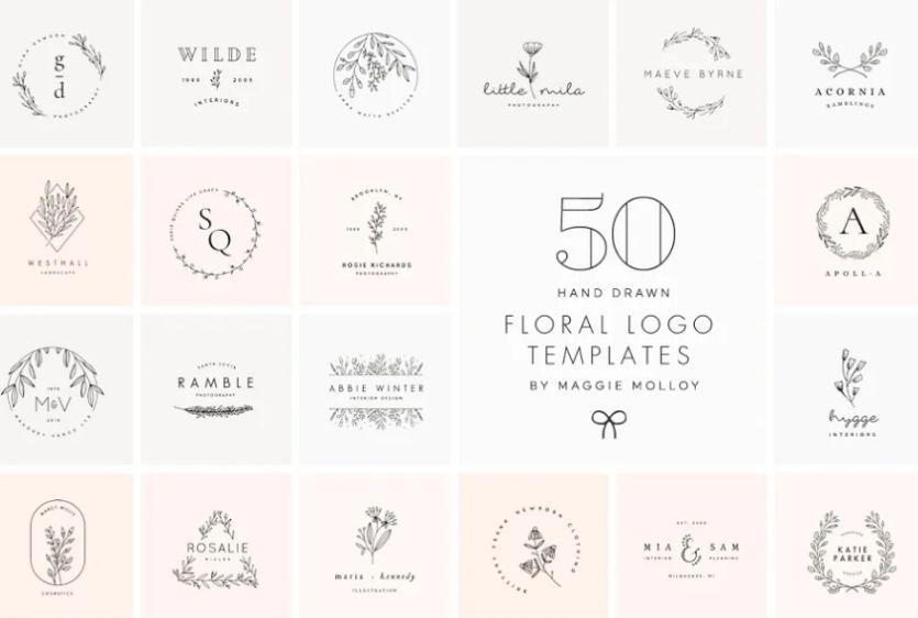 50 Hand Written Floral Logos