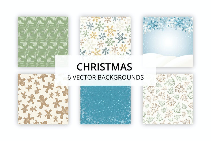 6 Christmas Vector Backgrounds