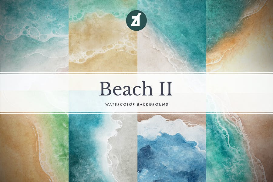 8 Watercolor Beach Backgrounds