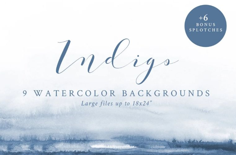 9 Indigo Watercolor Textures