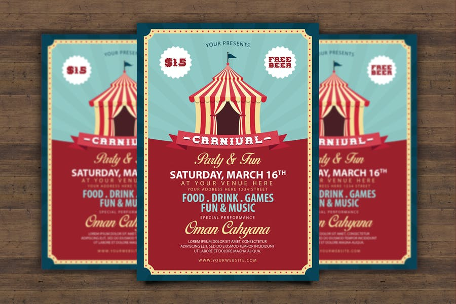 A4 Carnival Flyer Template PSD
