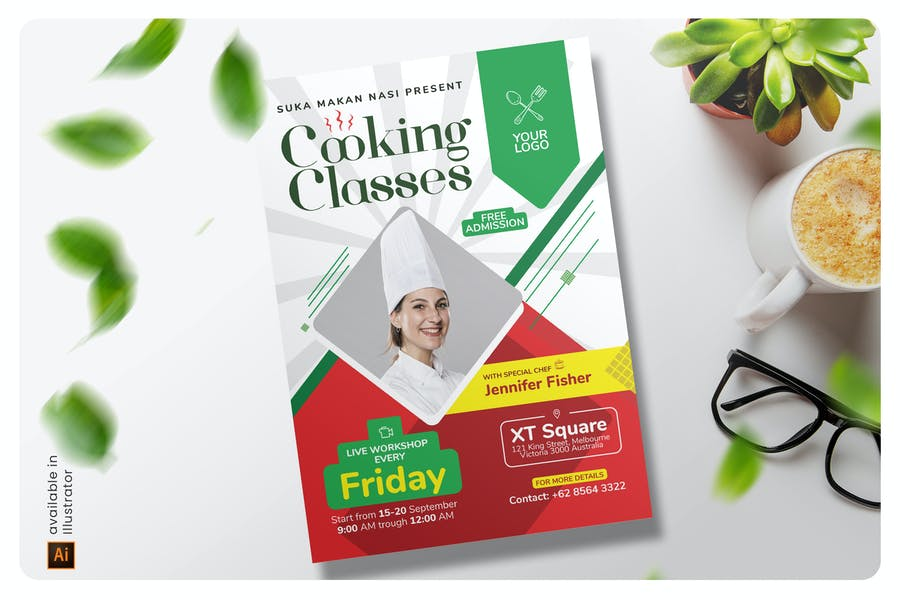 A4 Cooking Class Flyer Templates